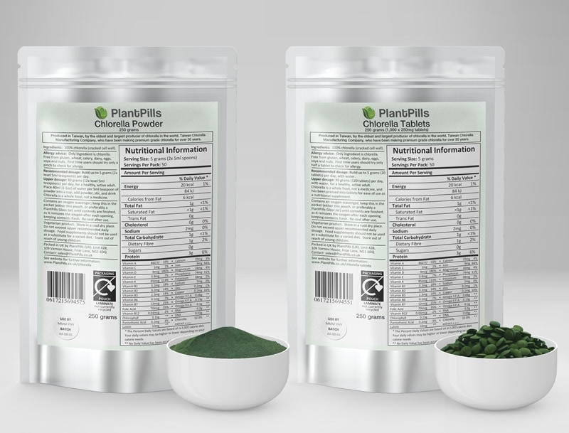 PlantPills Chlorella Pouch and Tablets
