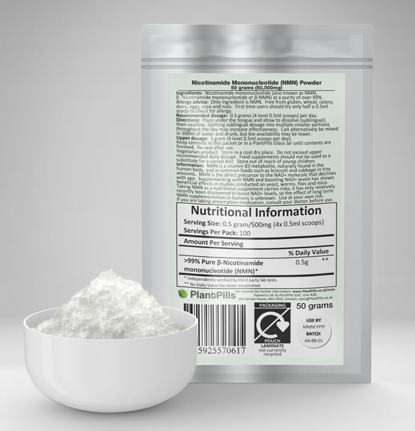 PlantPills Nicotinamide Mononucleotide (NMN) Pouch and Powder