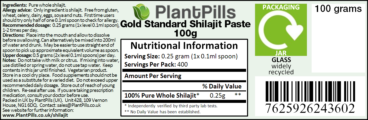 PlantPills Gold Standard Shilajit Paste Label