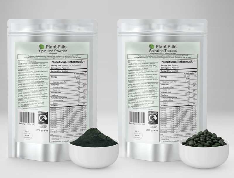 PlantPills Spirulina Pouch and Tablets