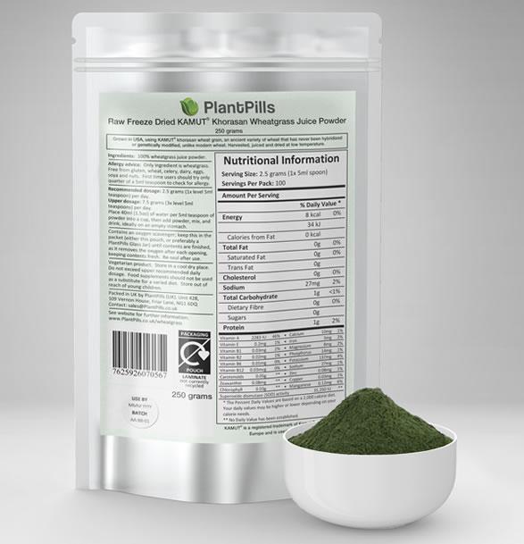 PlantPills Raw Field Grown Freeze Dried Kamut® Wheatgrass Juice Powder with Pouch