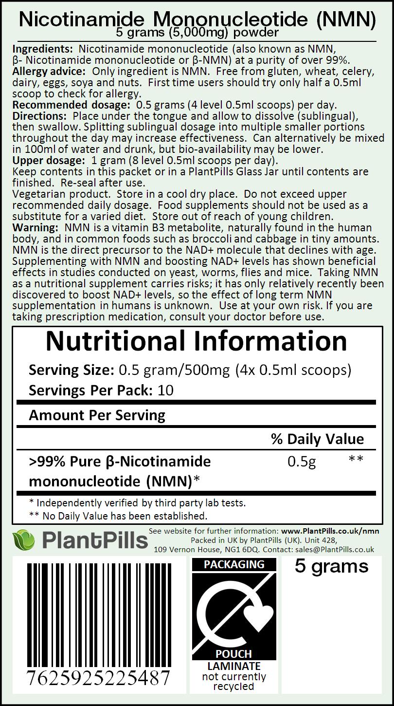 PlantPills Nicotinamide Mononucleotide (NMN) Powder Label