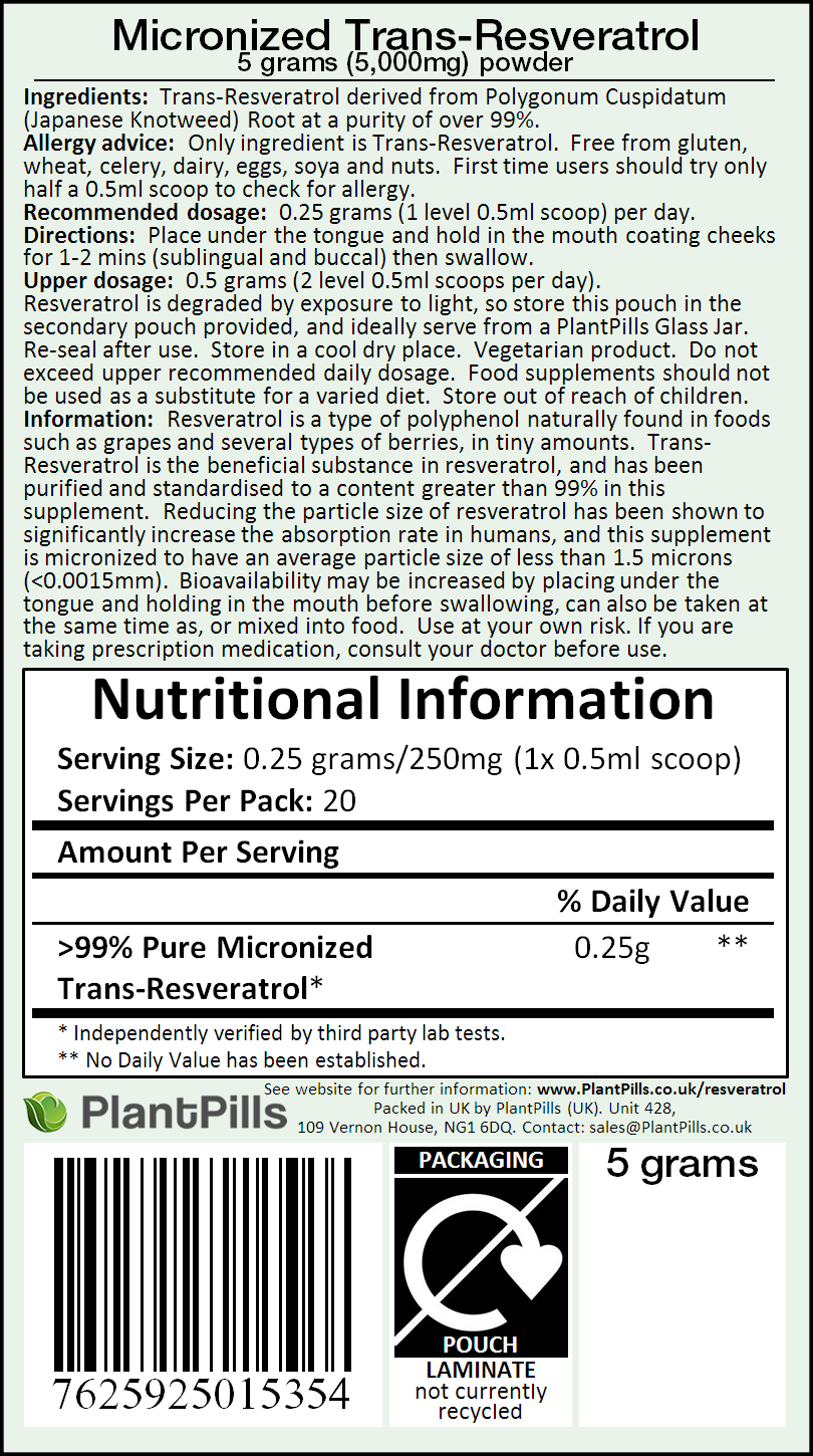 PlantPills Micronized Trans-Resveratrol Powder Label