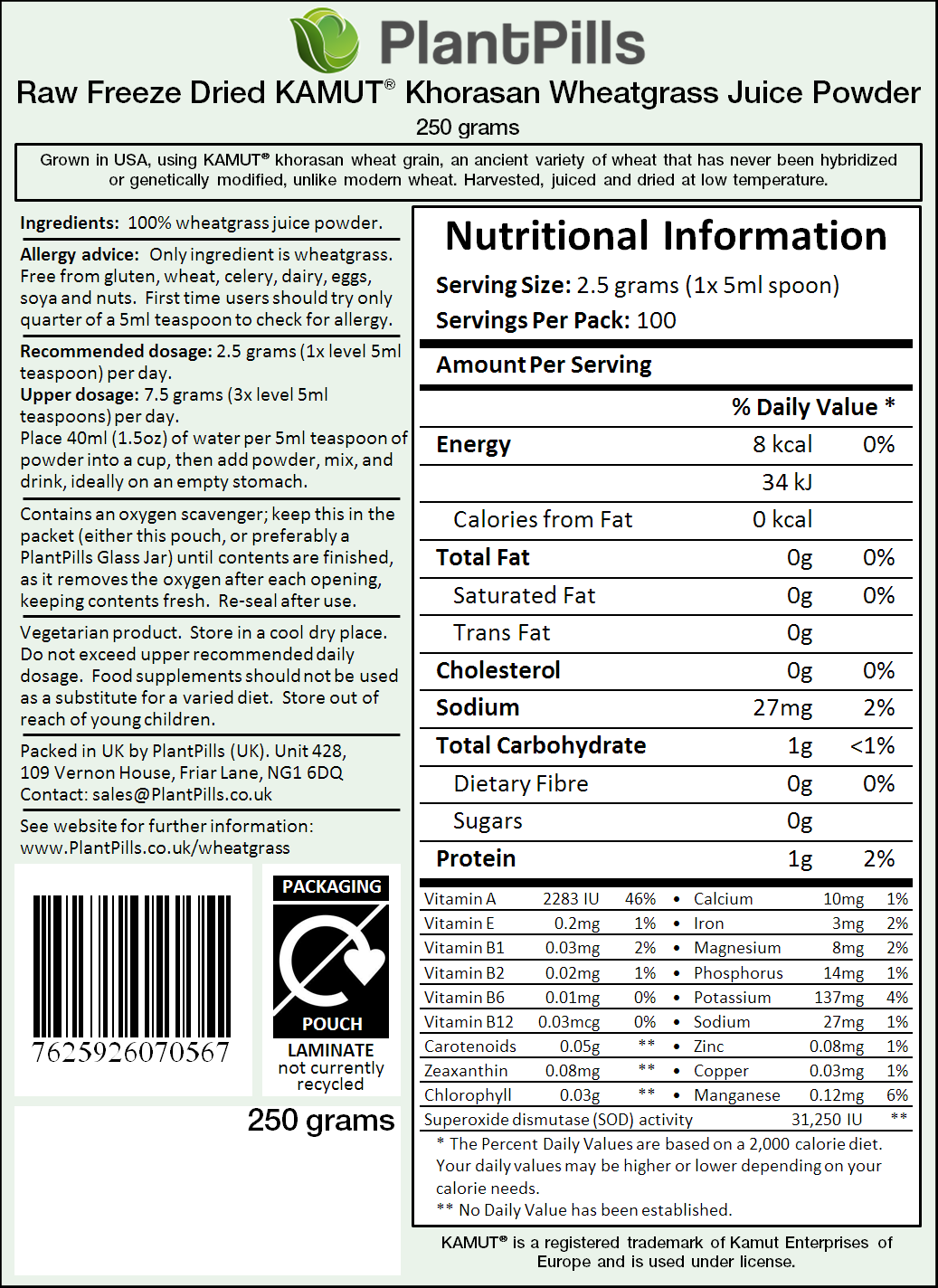 Raw Field Grown Freeze Dried Kamut® Wheatgrass Juice Powder Label